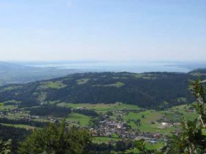 Blick vom Brüggelekopf auf Alberschwende und Bodensee